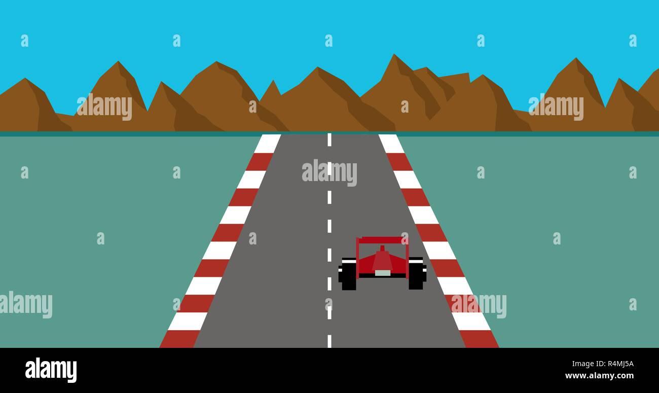 Retro pixel art style race car game Vector - Stock Vector