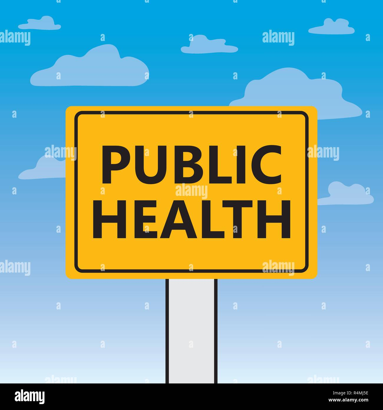 public health written on a billboard- vector illustration - Stock Image