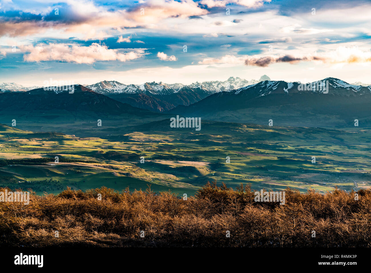 Sunset over Simpson Valley or Valle Simpson in the Aysen Region of Patagonia in Chile. - Stock Image