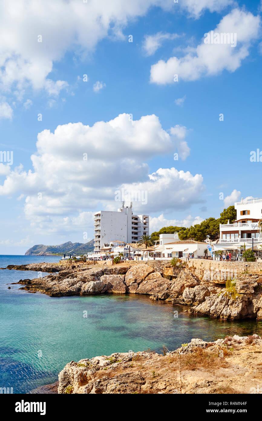 Cala Ratjada, Mallorca, Spain - August 18, 2018: Resort of Cala Ratjada, the principal port and coastal development area of the municipal district of  - Stock Image