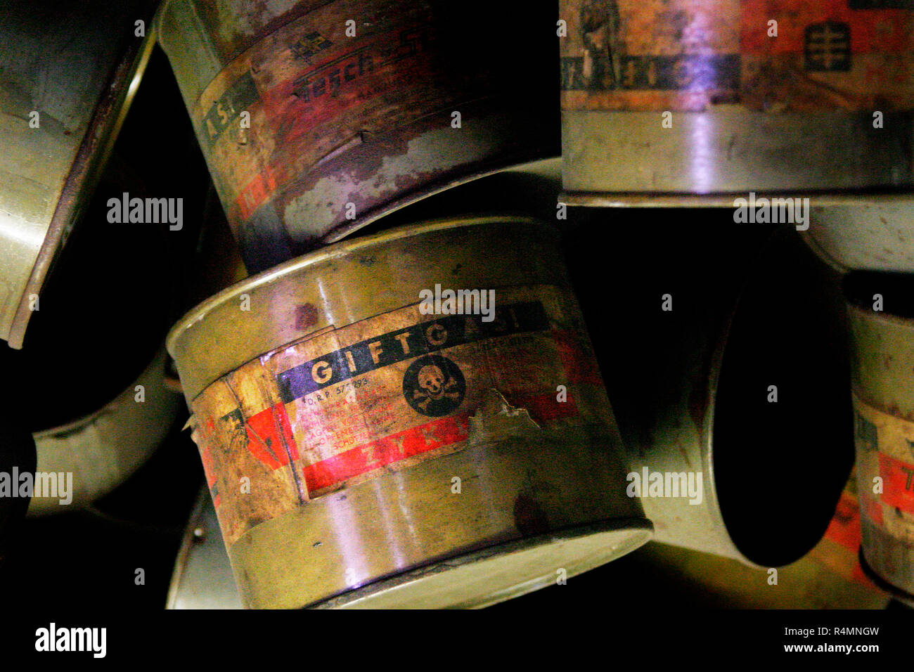 GIFTGAS ! Label of a can of Zyklon B a cyanide-based pesticide used on Jewish prisoners by Nazi Germany in gas chambers Auschwitz-Birkenau - Stock Image