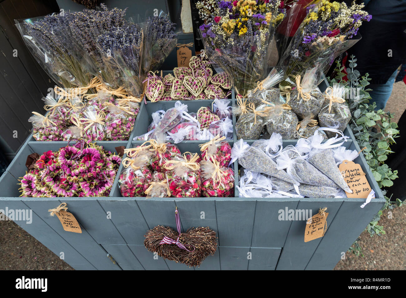 Scented dried flower products for sale at Bath Christmas Market, Bath, UK - Stock Image