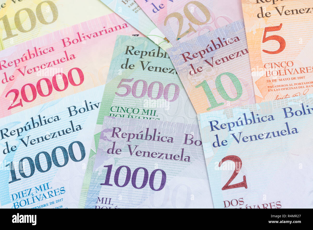 Venezuela Bolivar banknotes - metaphor for Hyperinflation in the Venezuelan economy, where banknotes are almost worthless. SEE ADDIT. NOTES - Stock Image