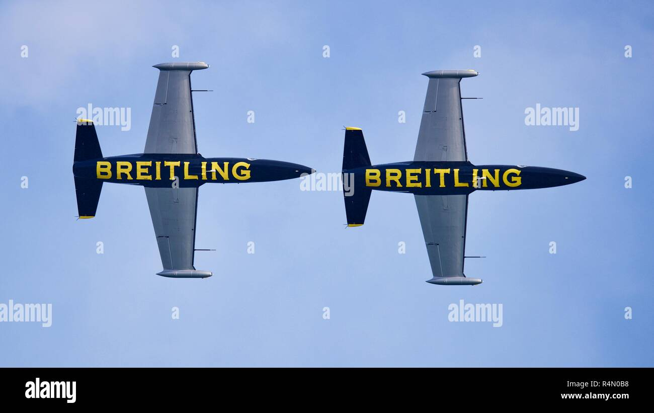 2 Czech Aero L-39 Albatros jets from the Breitling Jet Team performing at the 2018 Bournemouth Air Festival - Stock Image