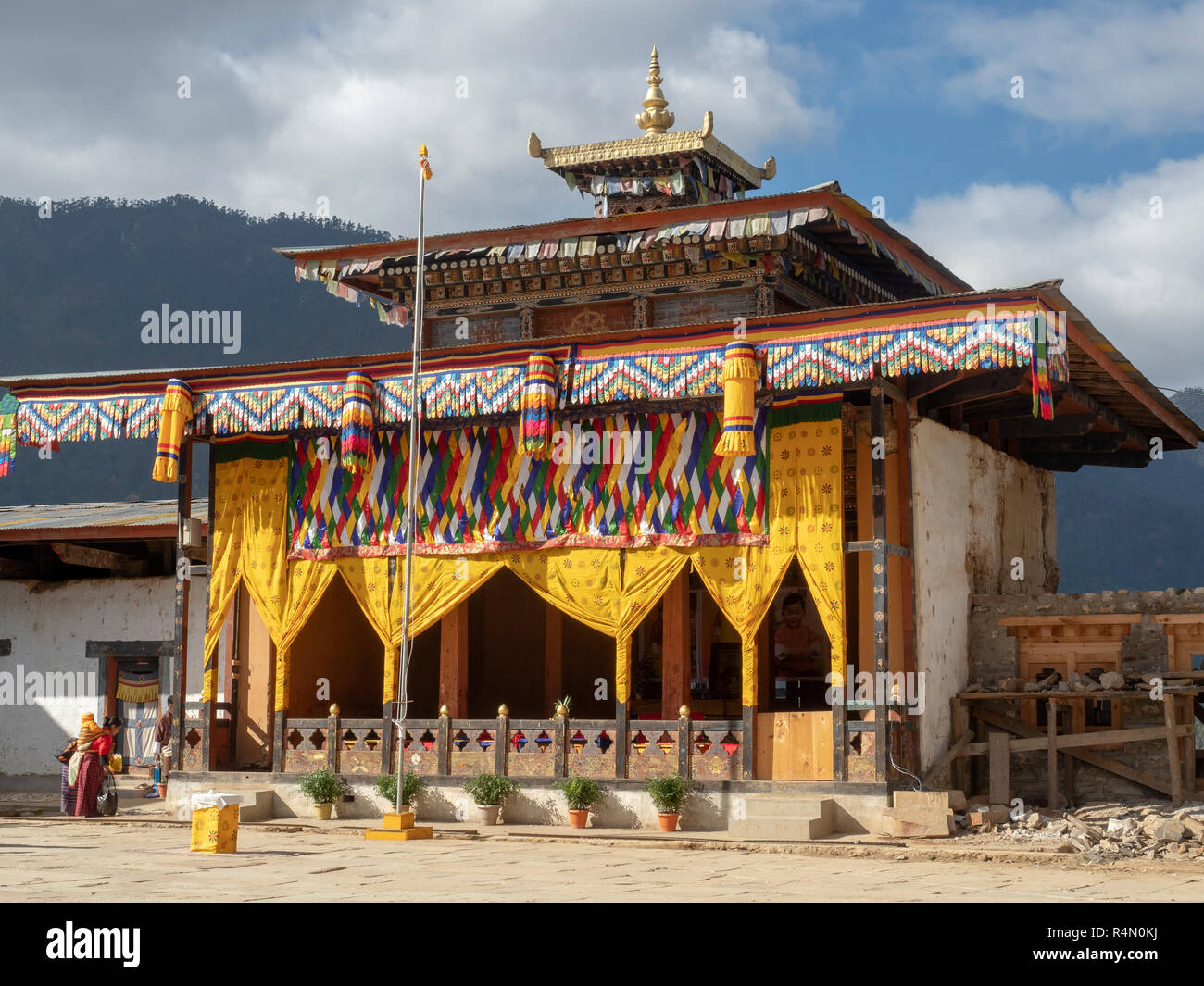 Gangtey Monastery, Bhutan, decorated for the Black-necked Crane festival - Stock Image