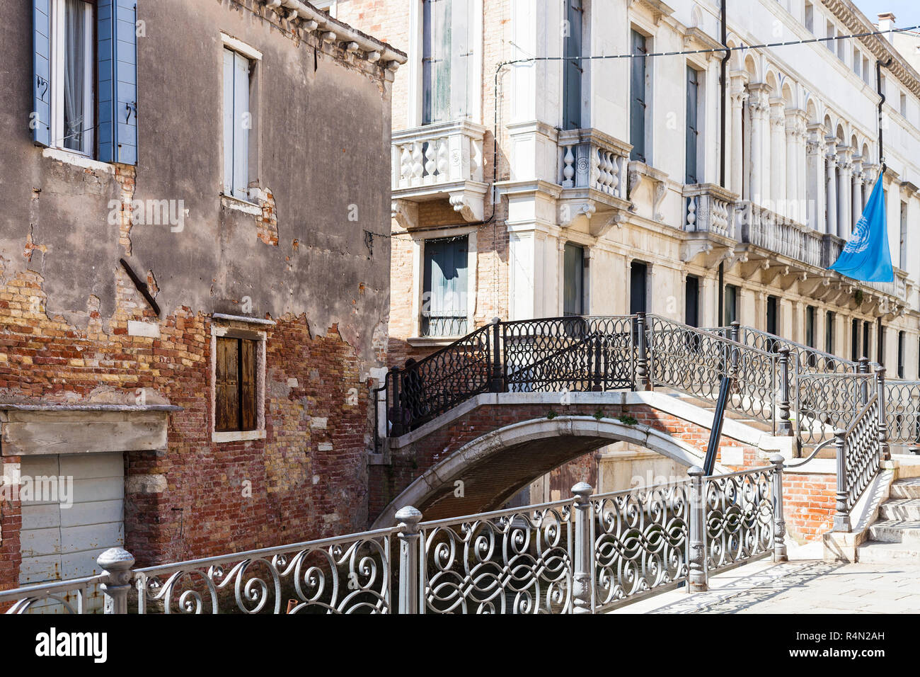 bridge over canal Rio de San severo in Venice Stock Photo