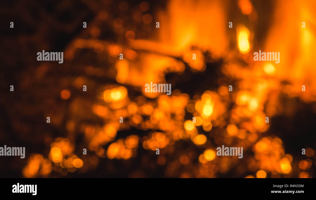 East Orange Focus >> Abstract Out Of Focus Flames And Sparks From A Bonfire Night