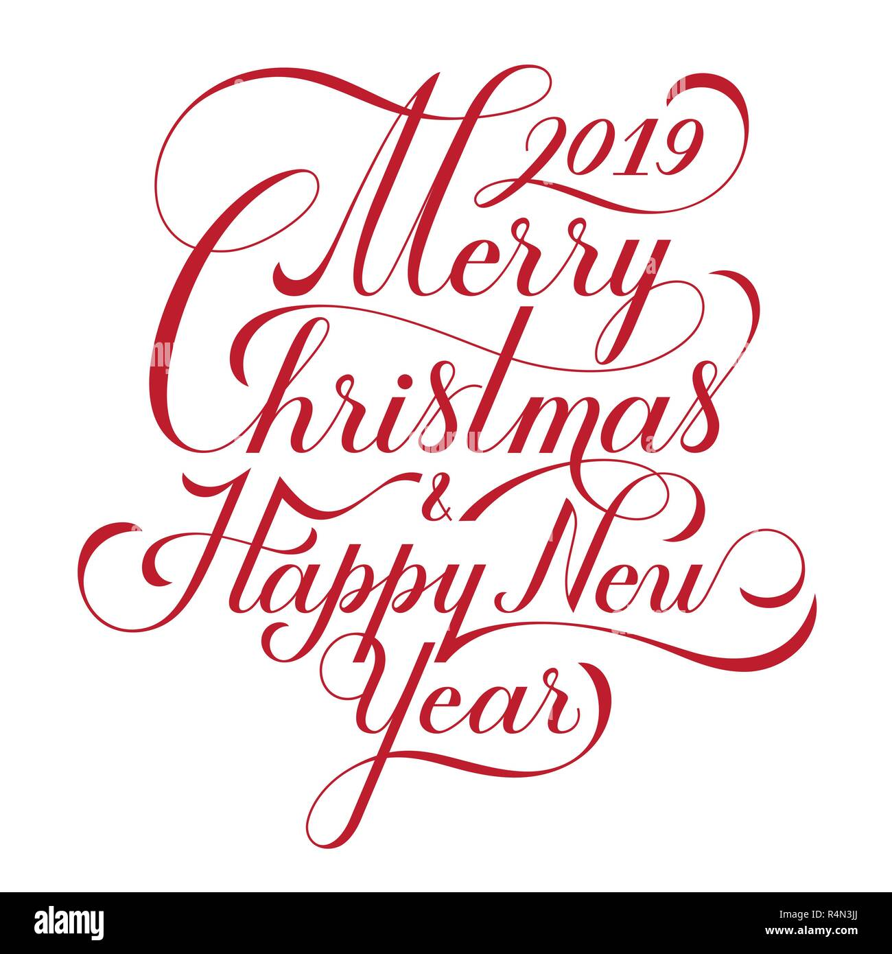 Merry Christmas Text.Merry Christmas And Happy New Year Text Calligraphic