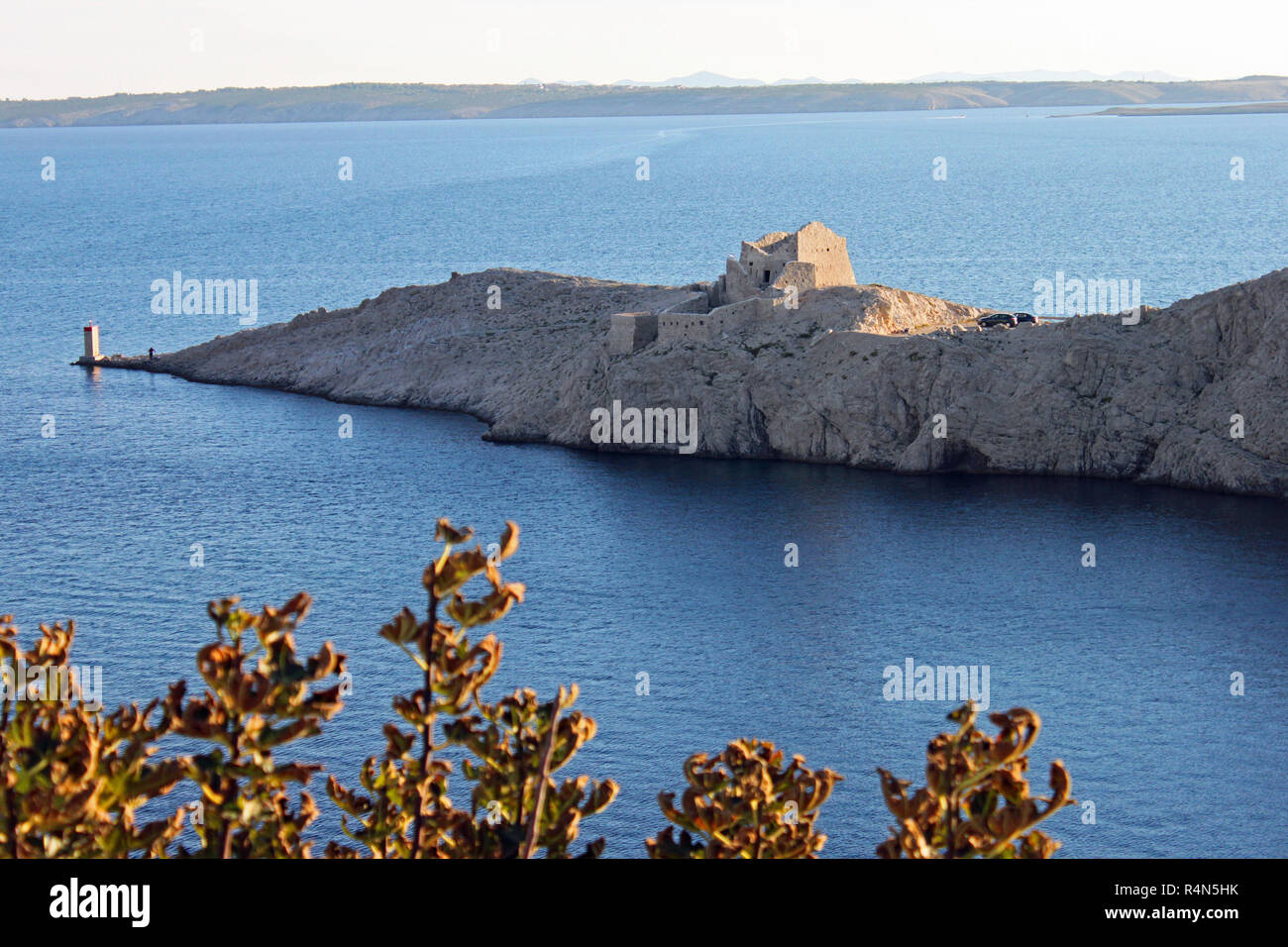 ruin of a castle at the south end of island pag croatia stock photo