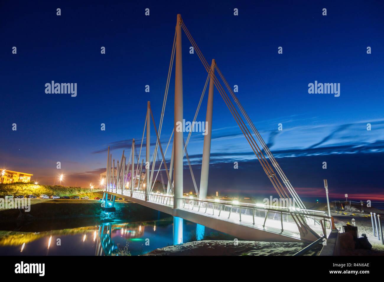 Bridge at night in Dunkirk, France - Stock Image