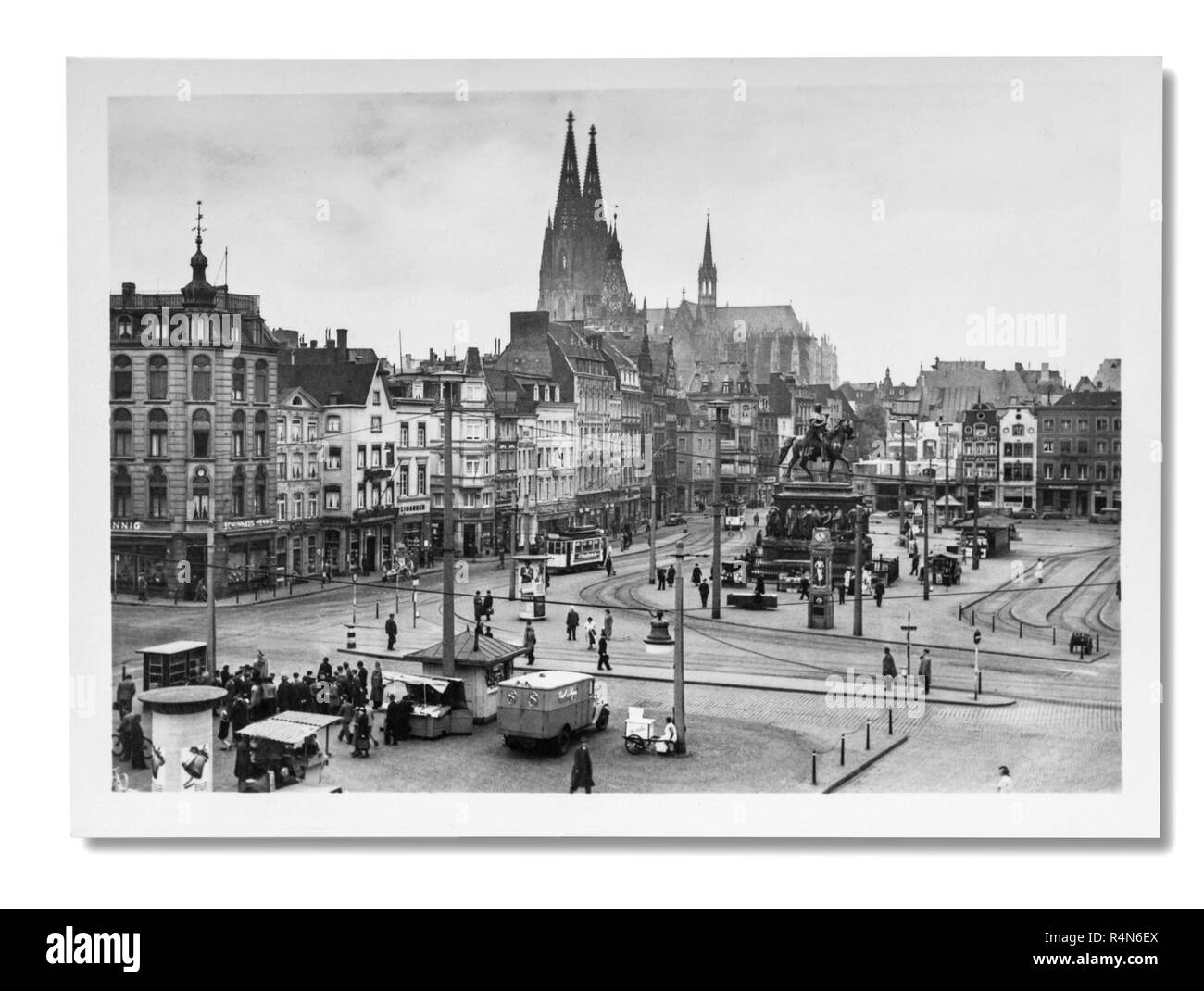 Vintage 1930s photograph of The Heumarkt, Cologne Germany. - Stock Image