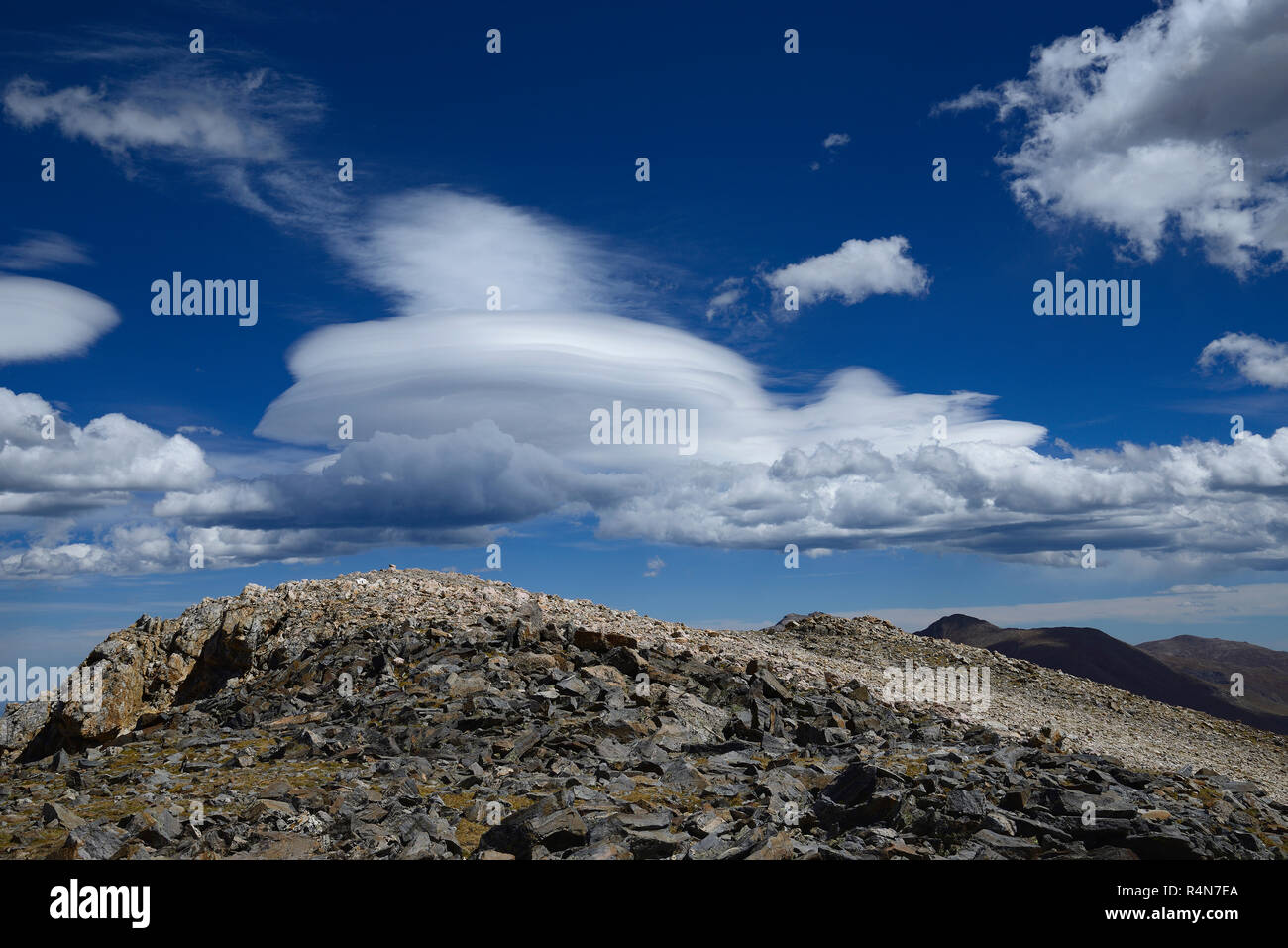 Clouds above Square Top Mountain in Colorado - Stock Image