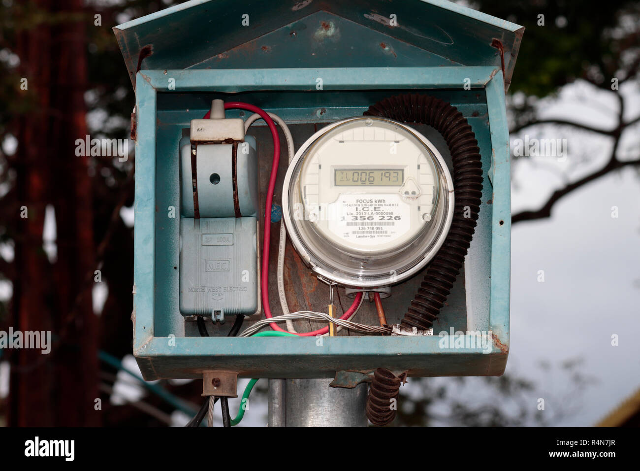 A Costa Rican Electricity Meter Stock Photo
