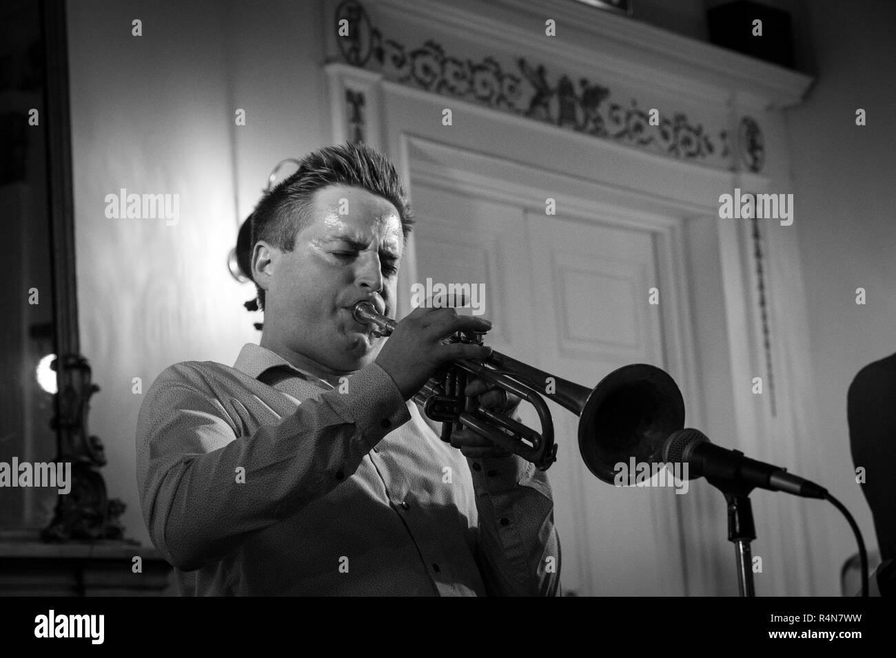 Nick Dewhurst soloing on trumpet with Dennis Rollins, Lichfield 2018