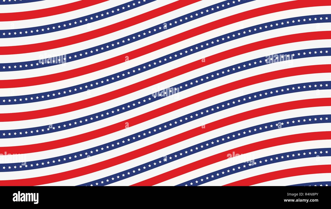 US American flag background horizontal web banner  Wave