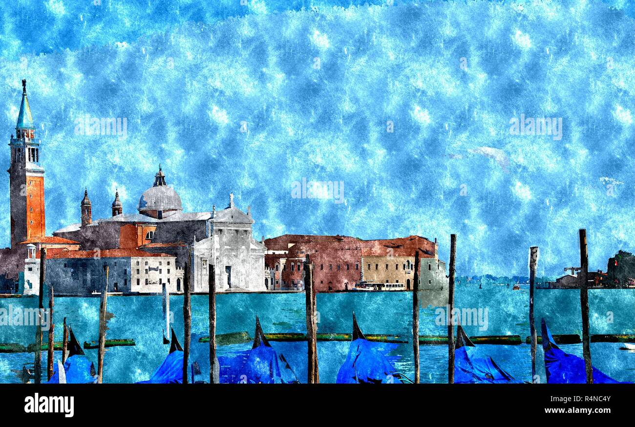 Watercolor Venice Painting Stock Photo