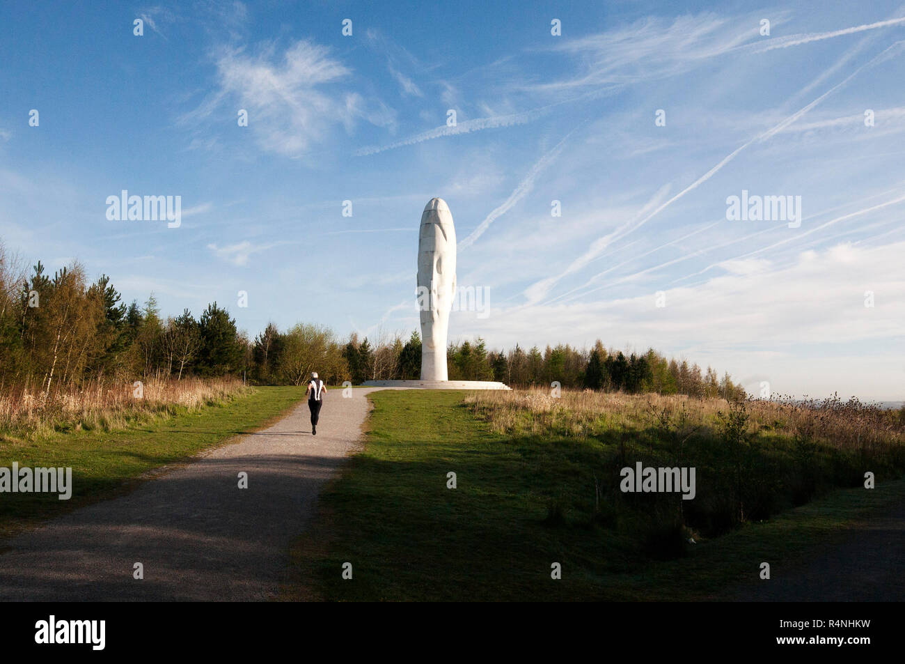 'The Dream' sculpture, St Helens, UK Opened in 2009, the winner of Channel 4's Big Art Project, a 20 metre high 'girl' made of marble by Jaume Plensa. - Stock Image