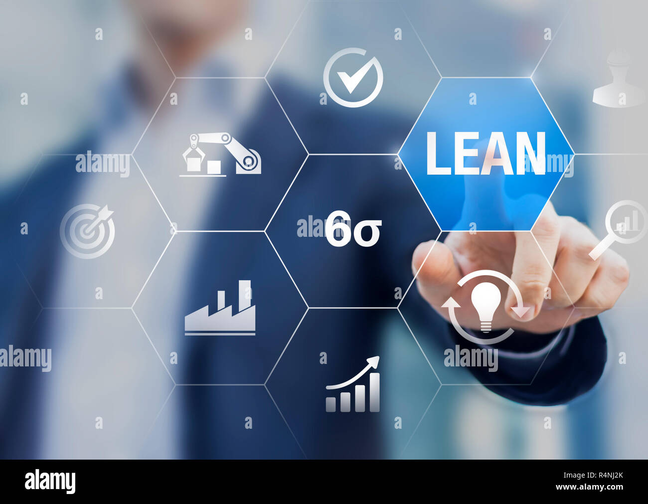 Lean manufacturing and six sigma management and quality standard in industry, continuous improvement, reduce waste, improve productivity and efficienc - Stock Image