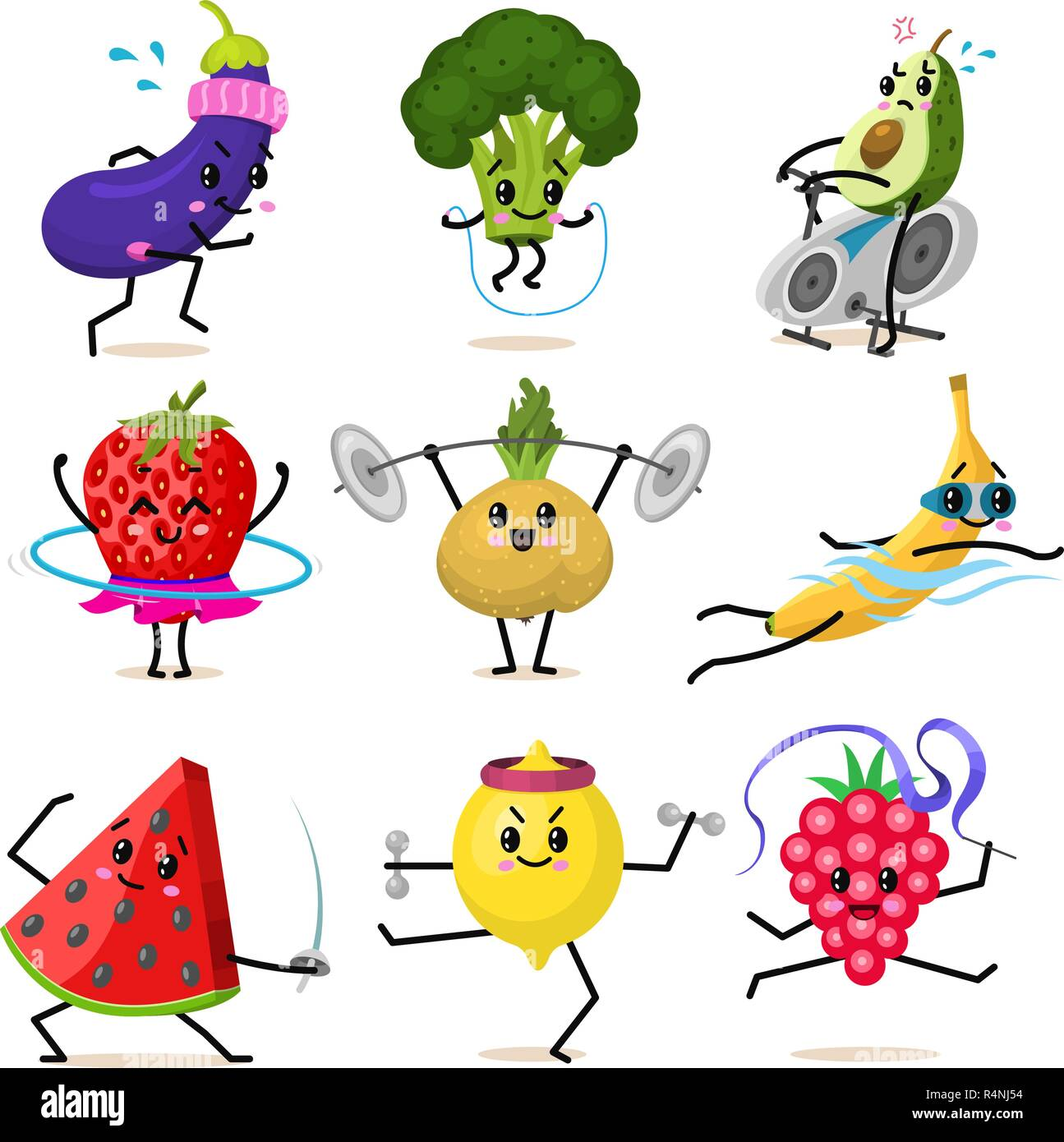Sports Fruit Characters Set Of Cute Healthy Vegetables And Funny