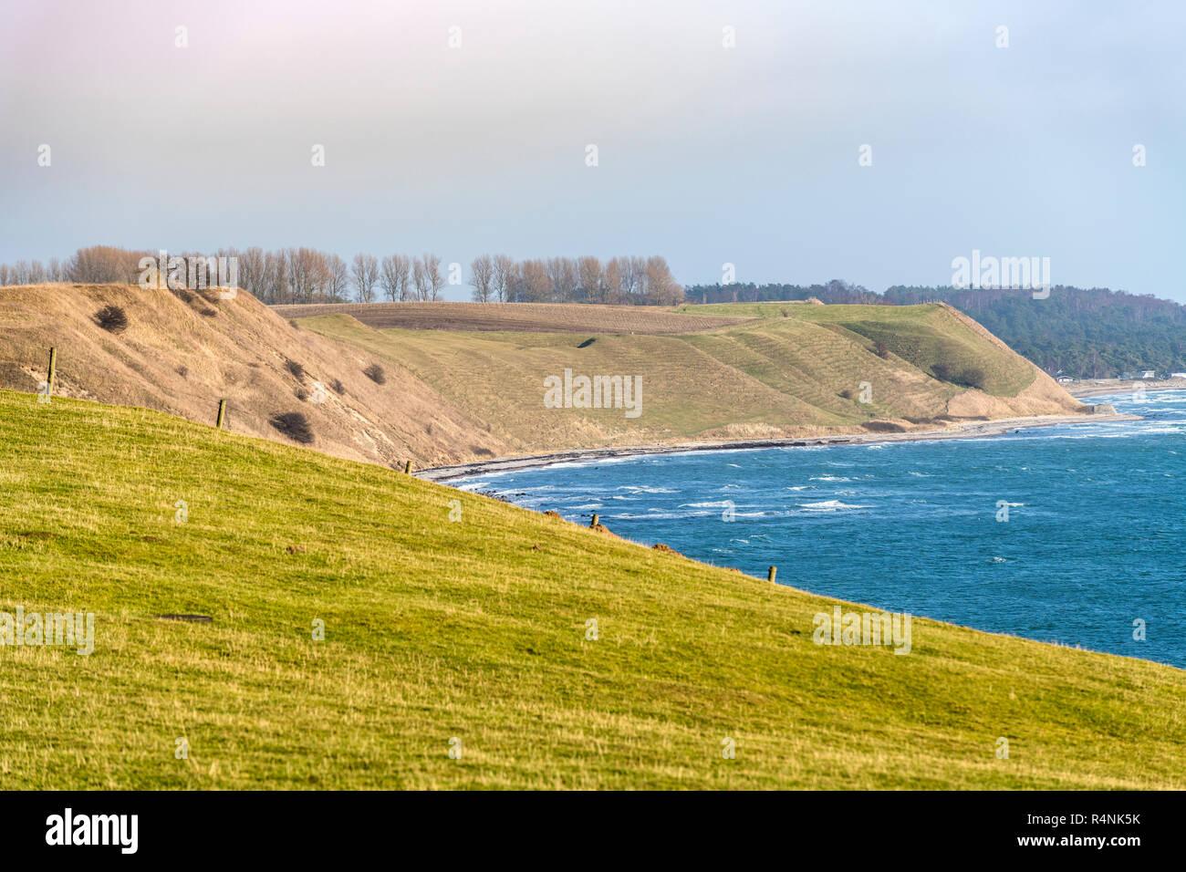 Scandinavian landscape in Skane County on Baltic sea, Sweden - Stock Image