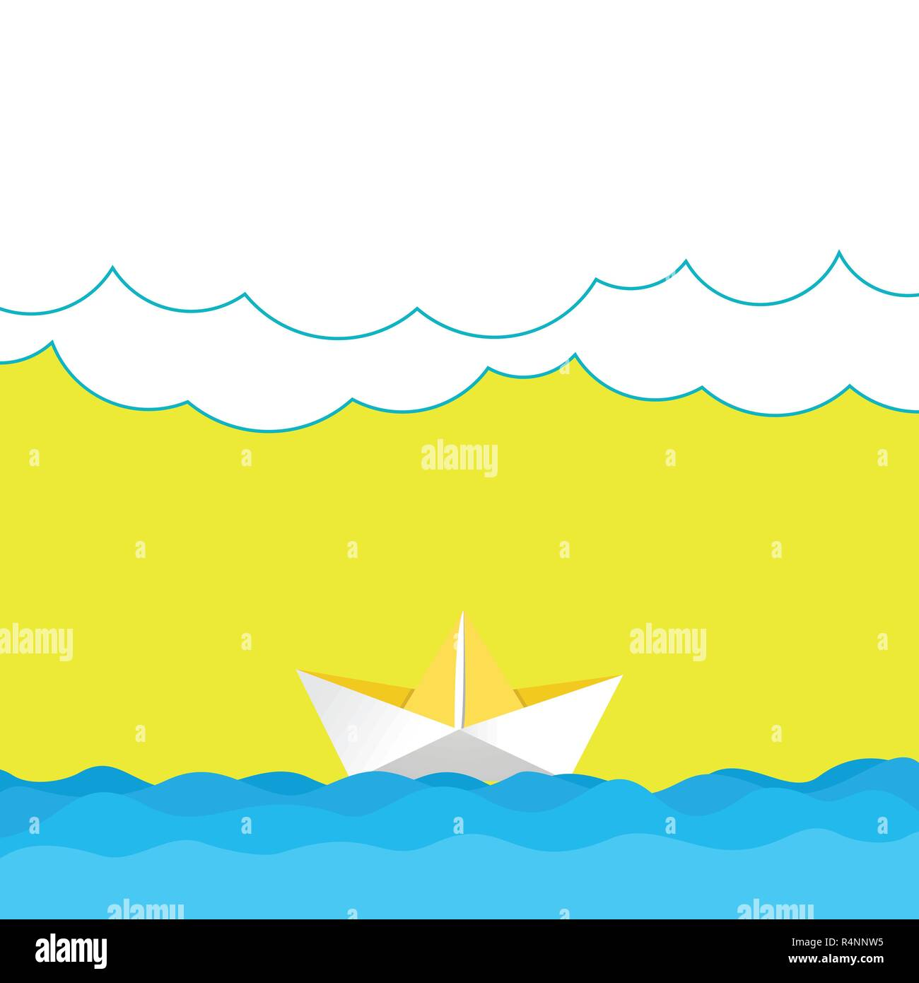 Business Empty Template For Layout Invitation Greeting Card Promotion Poster Voucher Wave Heavy Clouds And Paper Boat Seascape Scene Vector Blank