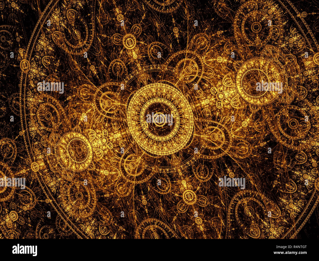 Abstract Golden Pattern Of Circles And Curves Like A