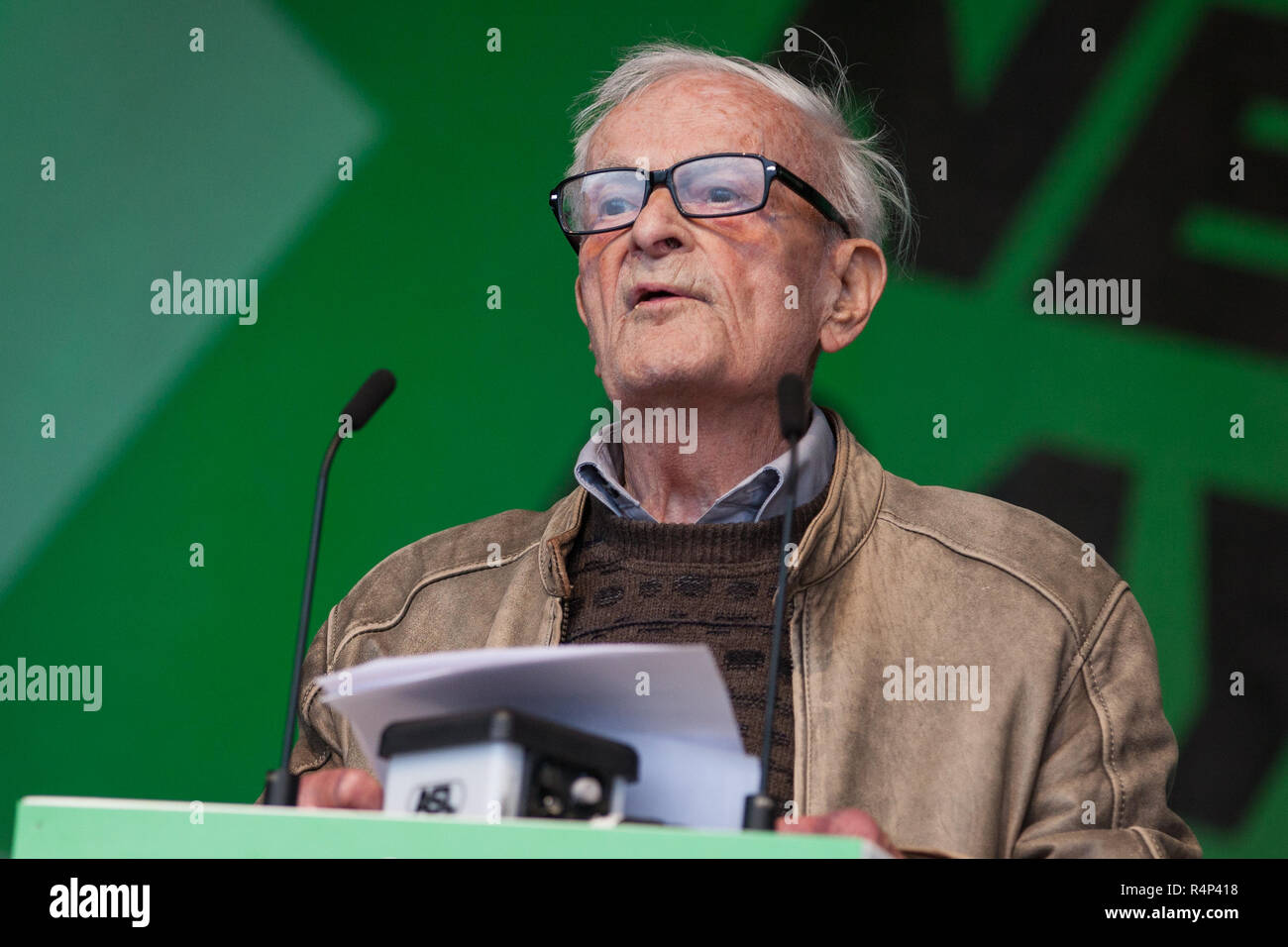 FILE IMAGE: Harry Leslie Smith has passed away today. File image from London, UK. 18th October, 2014. Harry Leslie Smith, a 91-year-old war veteran who lived through the Great Depression, addresses 100,000 people at the TUC's 'Britain Needs A Pay Rise' rally. Credit: Mark Kerrison/Alamy Live News - Stock Image