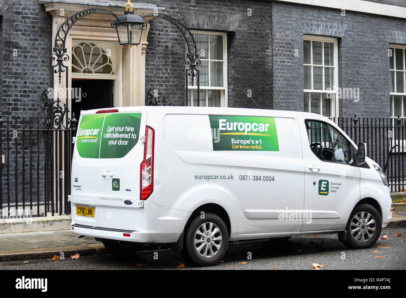 London Uk 28 November 2018 A Europcar Rental Van Is Seen Outside