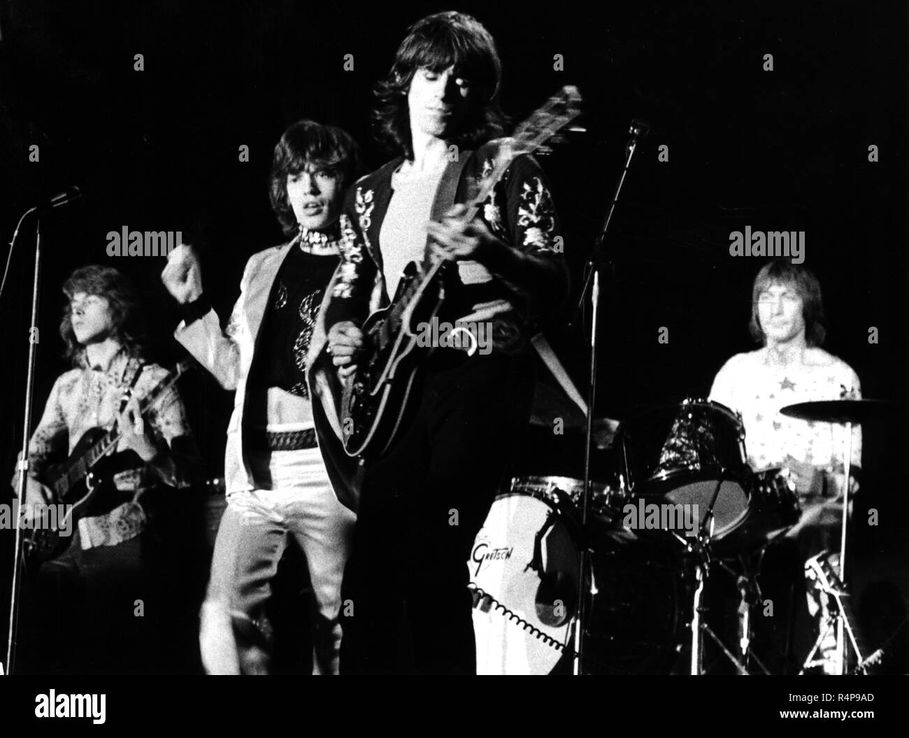 The Rolling Stones on 14 September 1970 on stage in Hamburg (Germany). L-r: Mick Taylor, Mick Jagger, Keith Richards and Charlie Watts.   usage worldwide - Stock Image