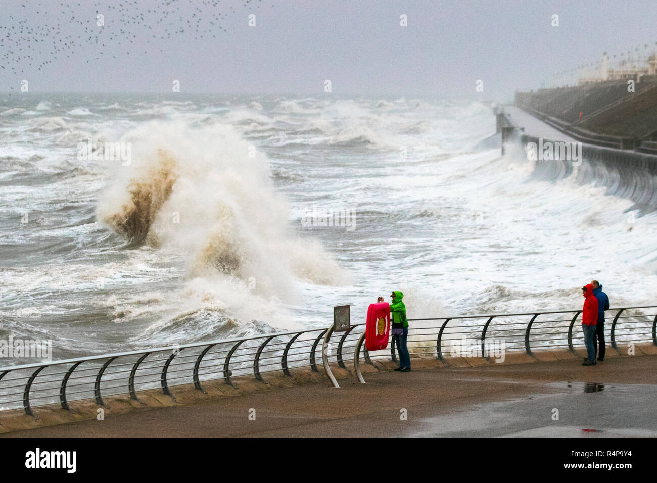Blackpool, Lancashire. 28th Nov 2018. UK Weather: Storm Diana batters UK with heavy rain and 70mph Gale force winds.  A spell of heavy rain and strong winds is with weather warnings issued with some short-term loss of services as winds strengthen. Credit; MediaWorldImages/AlamyLiveNews. - Stock Image