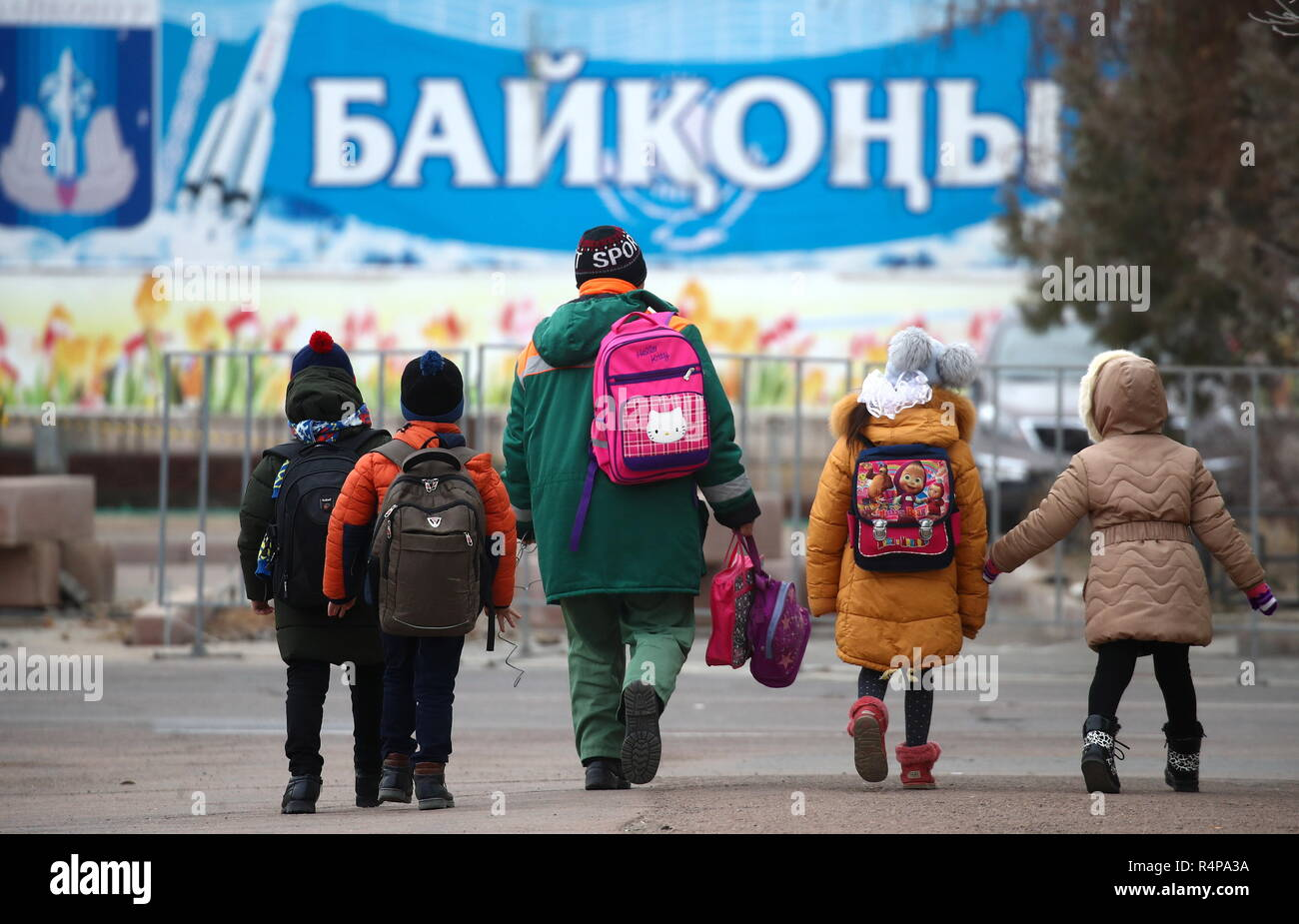 KAZAKHSTAN - NOVEMBER 28, 2018: Schoolchildren in the city of Baikonur rented by Russia from Kazakhstan along with the Baikonur Cosmodrome. Valery Sharifulin/TASS - Stock Image