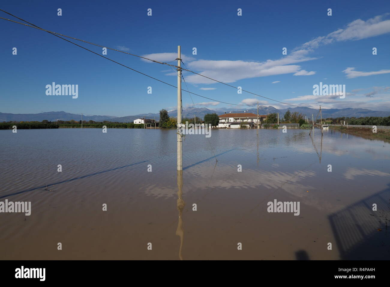Corigliano Rossano flooding of the Crati in Calabria due to the collapse of an embankment. Huge damage, more than 40 families evacuated and hundreds and hundreds of drowned dead animals. 11/28/2018, Corigliano Rossano, Italy - Stock Image