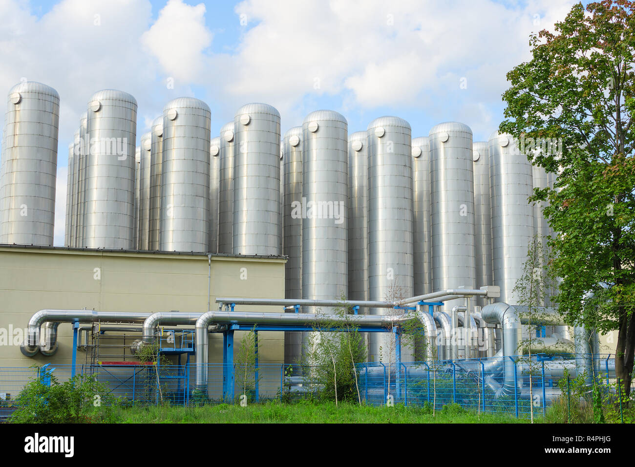 Industrial sewage treatment system for water purification - Stock Image