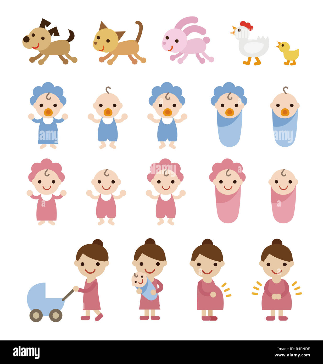 Mom, babies and pets illustration set - Stock Image