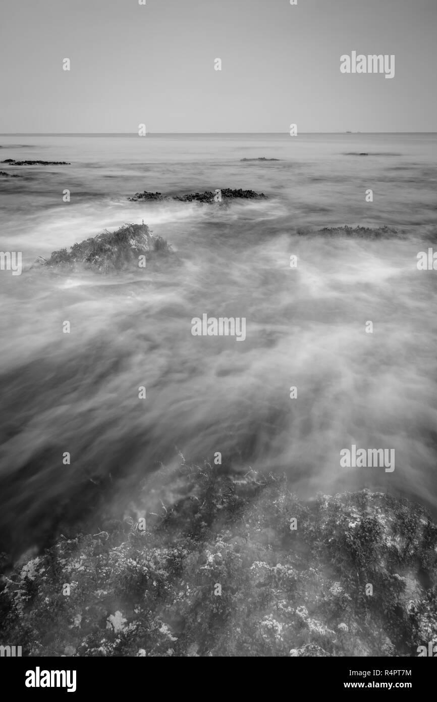 An abstact long exposure sea wave - Stock Image