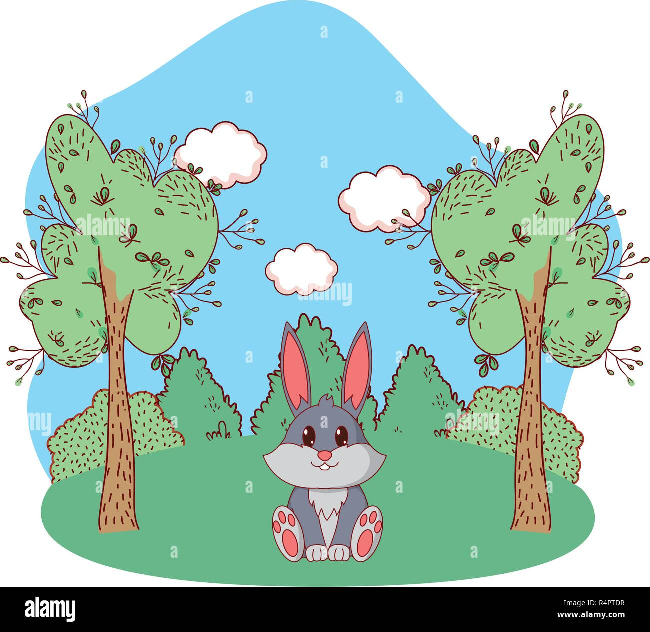 Cute Animal Rabbit Between Trees Cartoon Vector Illustration Graphic Design Stock Vector Image Art Alamy Almost files can be used for commercial. https www alamy com cute animal rabbit between trees cartoon vector illustration graphic design image226695555 html