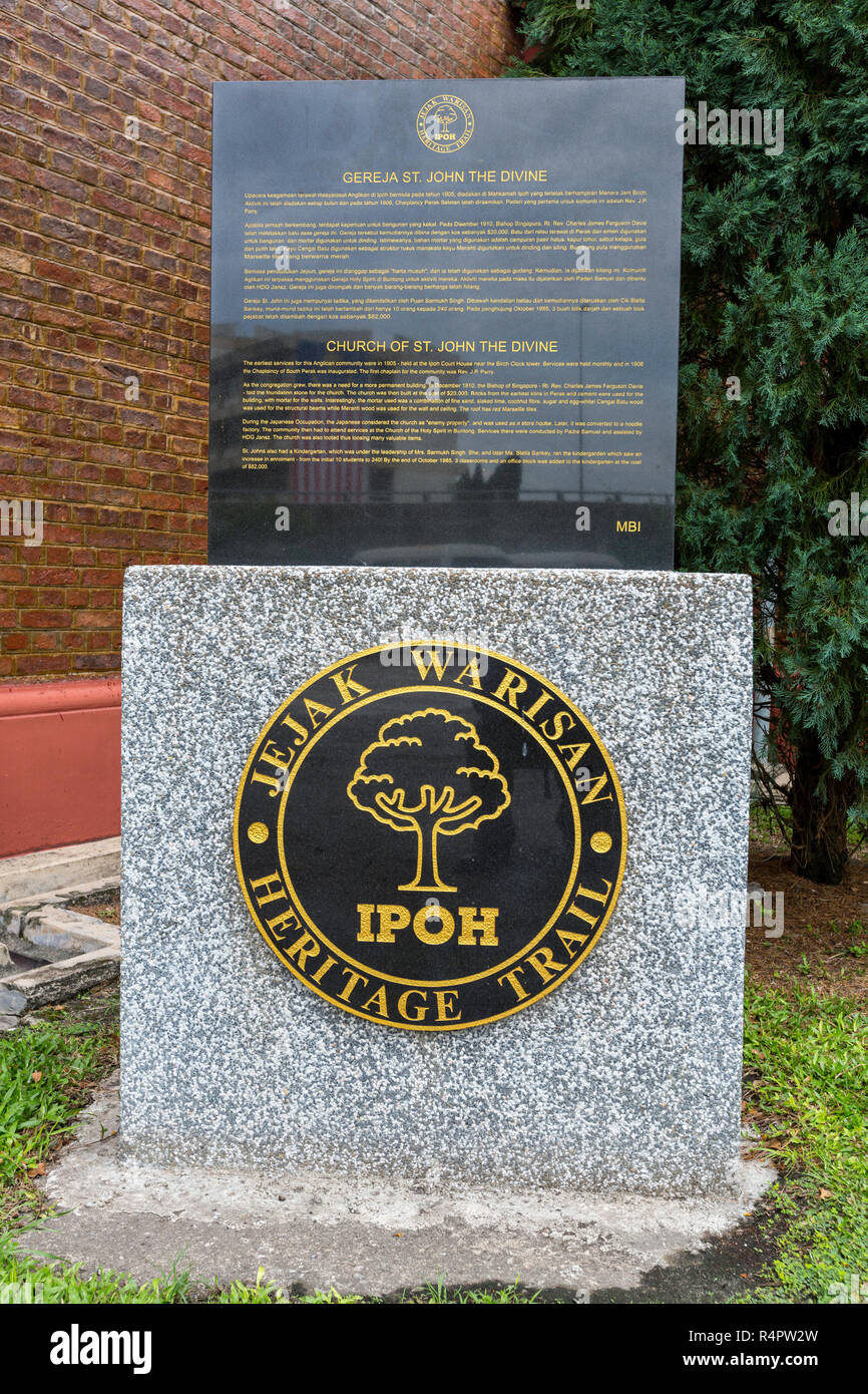 Heritage Trail Marker, Church of St. John the Divine, Ipoh, Malaysia. - Stock Image