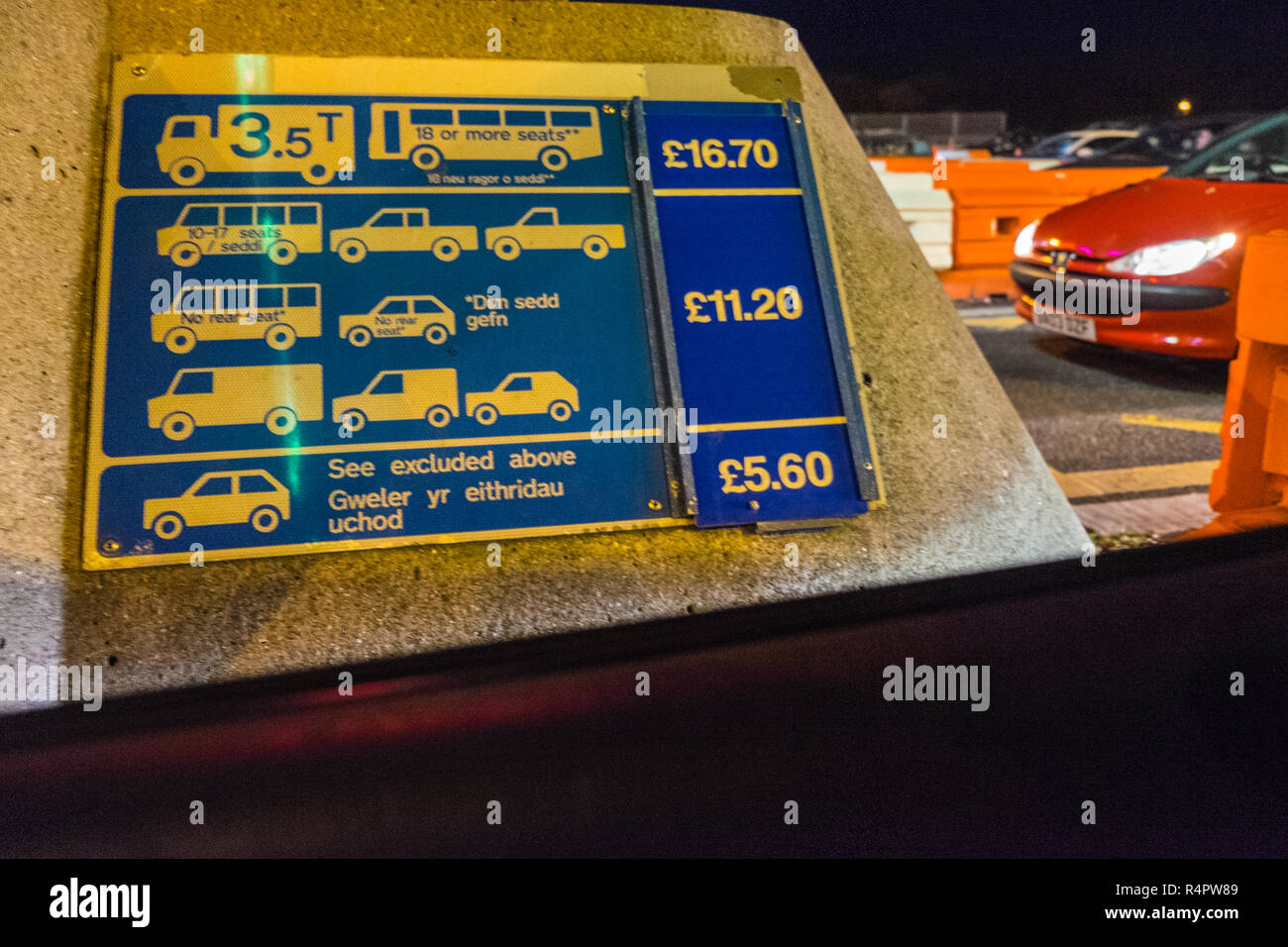 Toll,booth,booths,at,M4,Severn Bridge,crossing from England into Wales.Fee has been reduced in 2018,the tolls will be scrapped,on, December,17,2018. - Stock Image