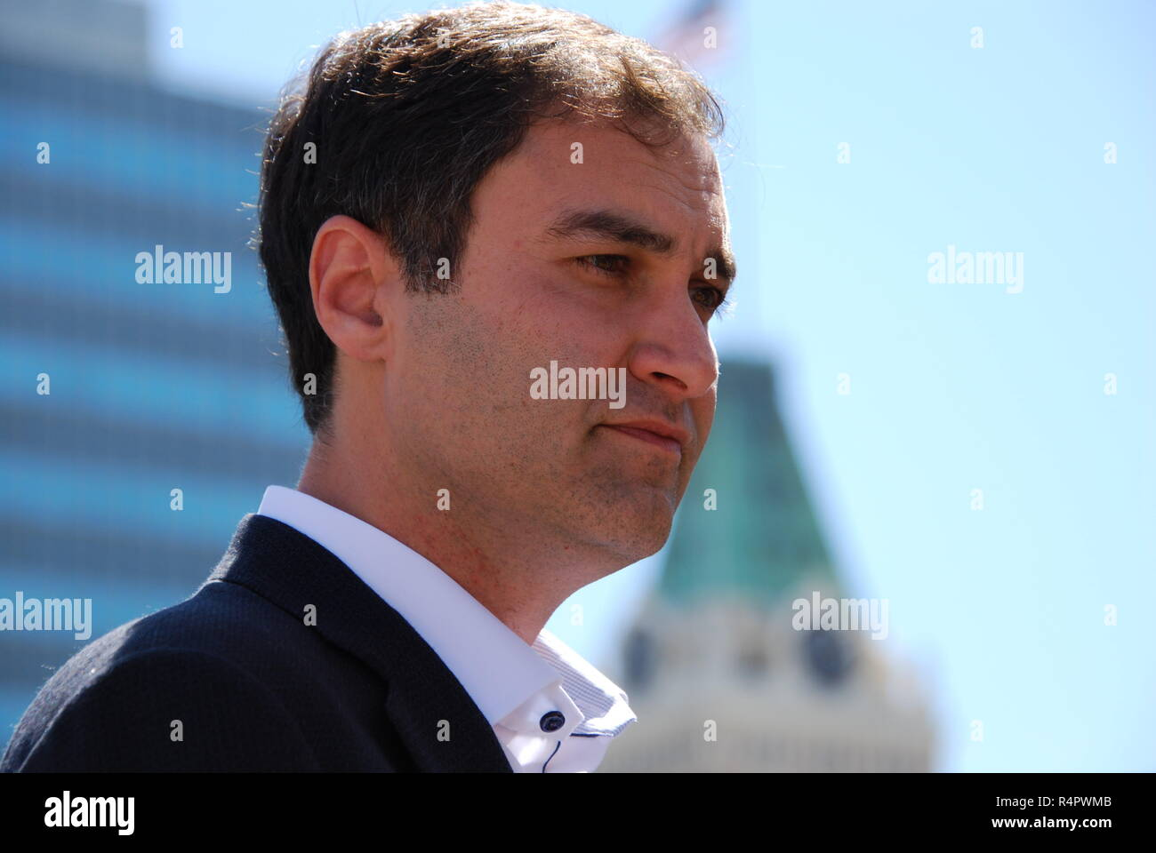 Oakland A's President Dave Kaval photographed during a news conference on the roof of Oakland City Hall ahead of the 2018 Major League Baseball season - Stock Image
