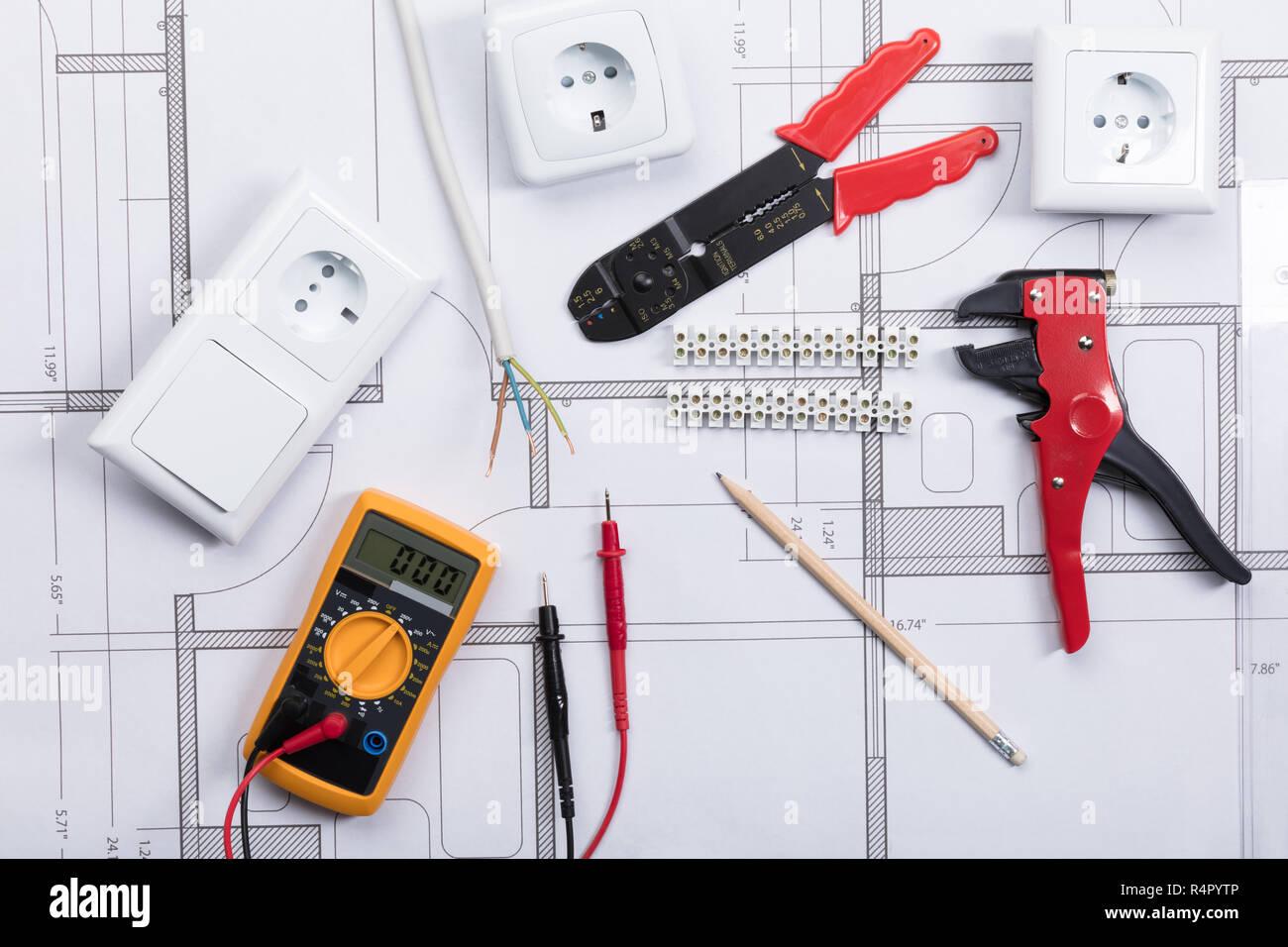 Blueprint Electrical Instrument Tools Stock Photos Blueprint