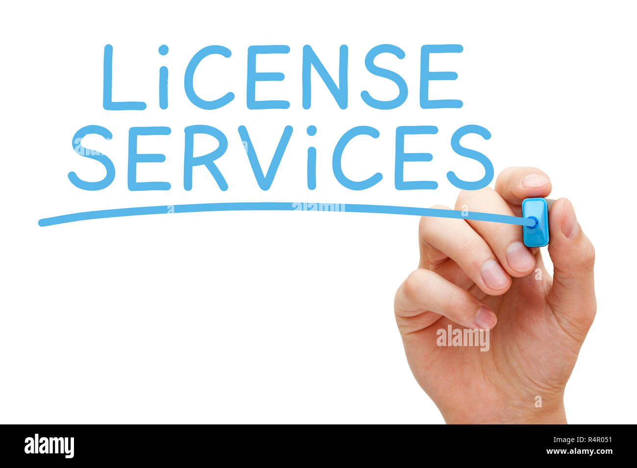 License Services Blue Marker Stock Photo