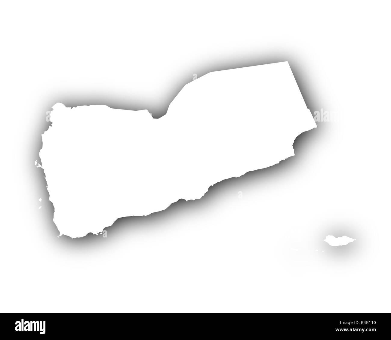 map of yemen with shadow - Stock Image
