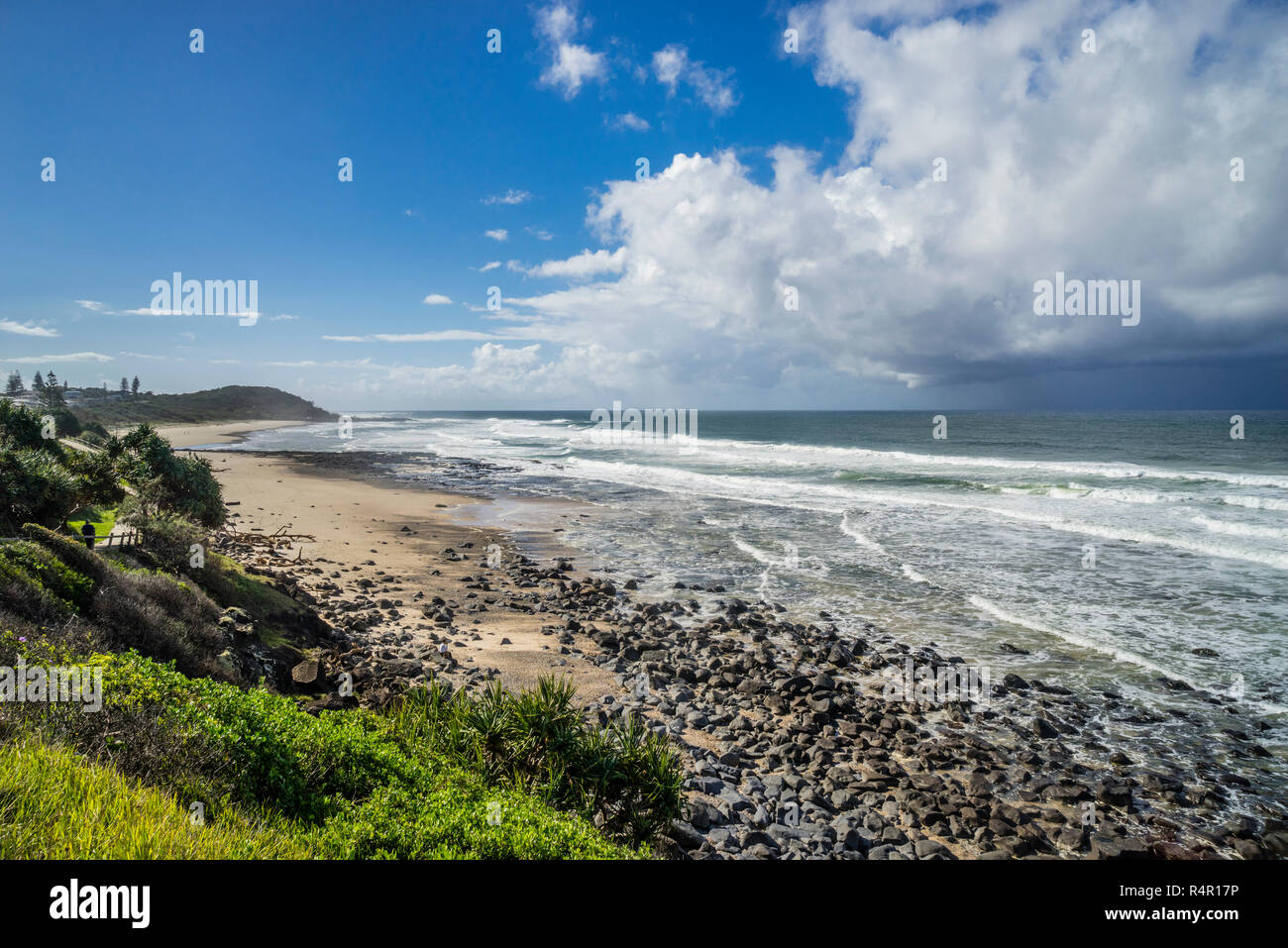 view of Shelly Beach from Ballina Head lookout, East Ballina, Northern Rivers region, New South Wales, Australia - Stock Image