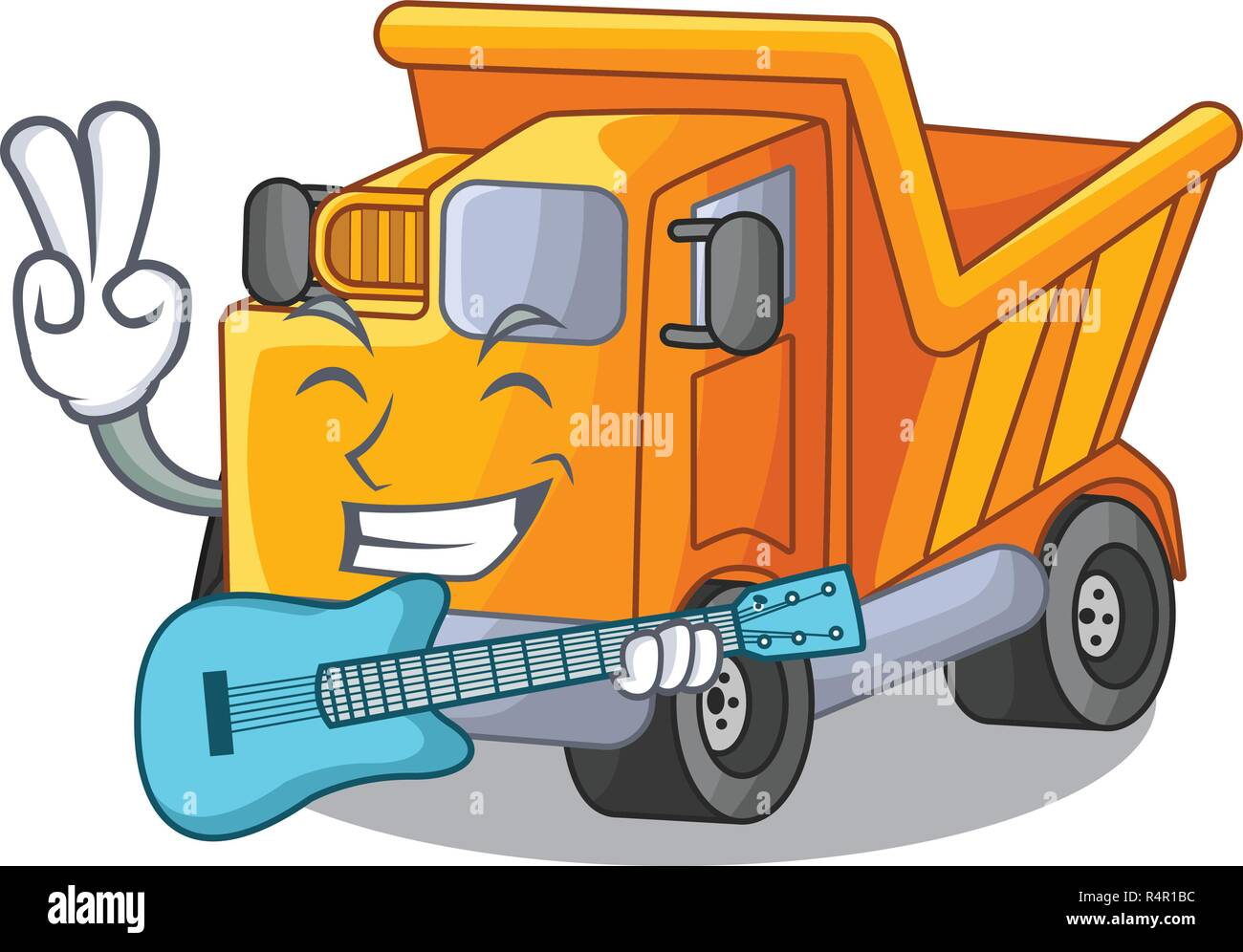 With guitar Truck on highway road with mascot - Stock Image