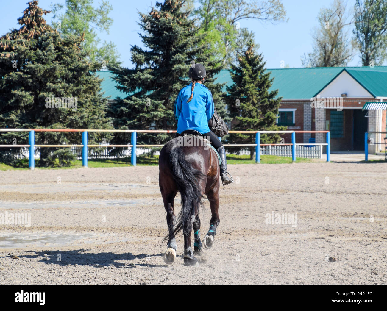 Equestrian sports with teenagers. Horse Club. A girl is riding a horse. - Stock Image