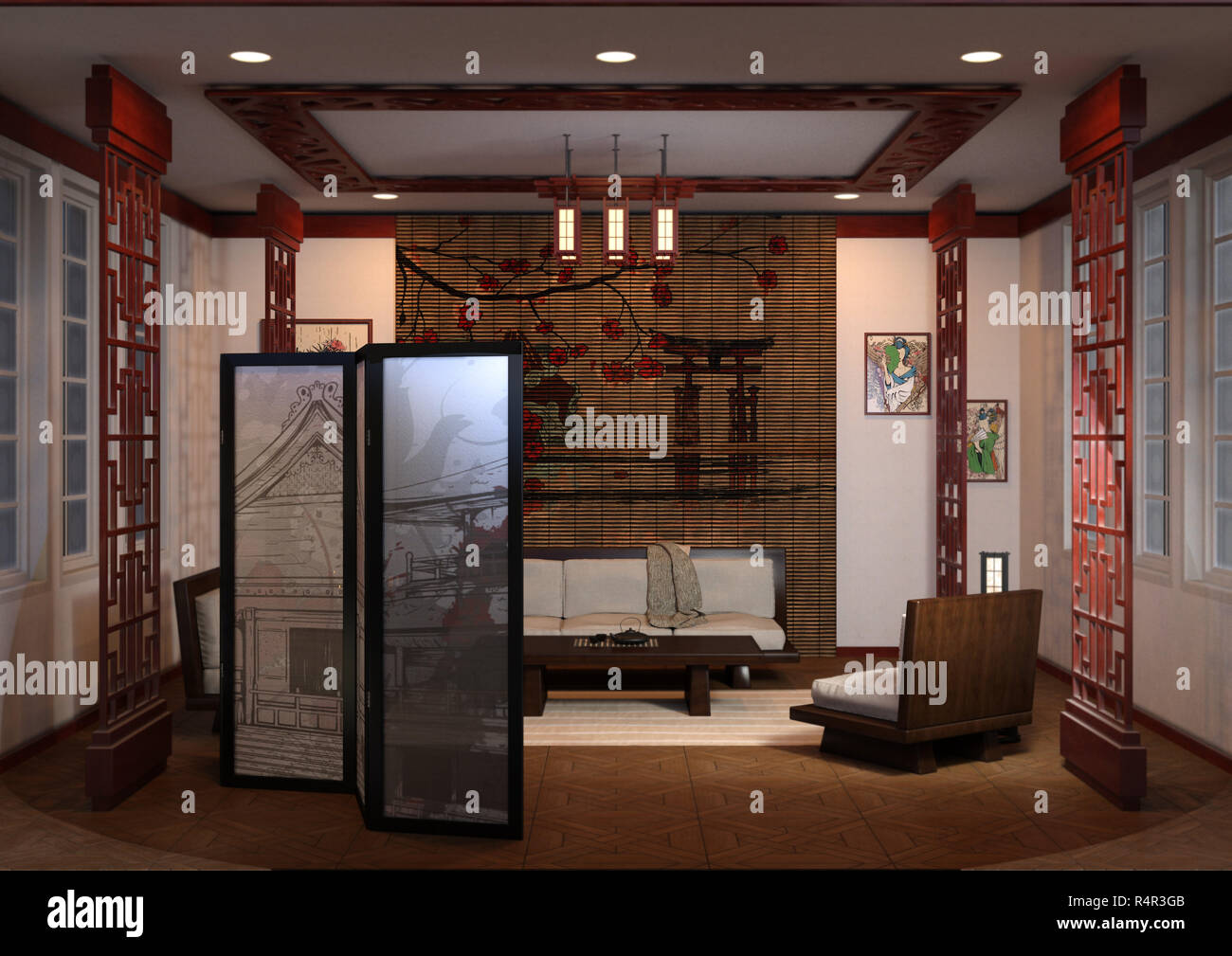 3d Rendering Home Interior Japanese Style Stock Photo