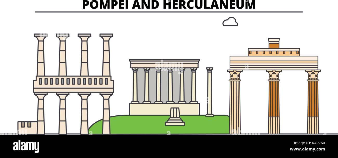 Archaeological Areas Of Pompei -Herculaneum And Torre Annunziata  line travel landmark, skyline, vector design. Archaeological Areas Of Pompei -Herculaneum And Torre Annunziata  linear illustration.  - Stock Vector
