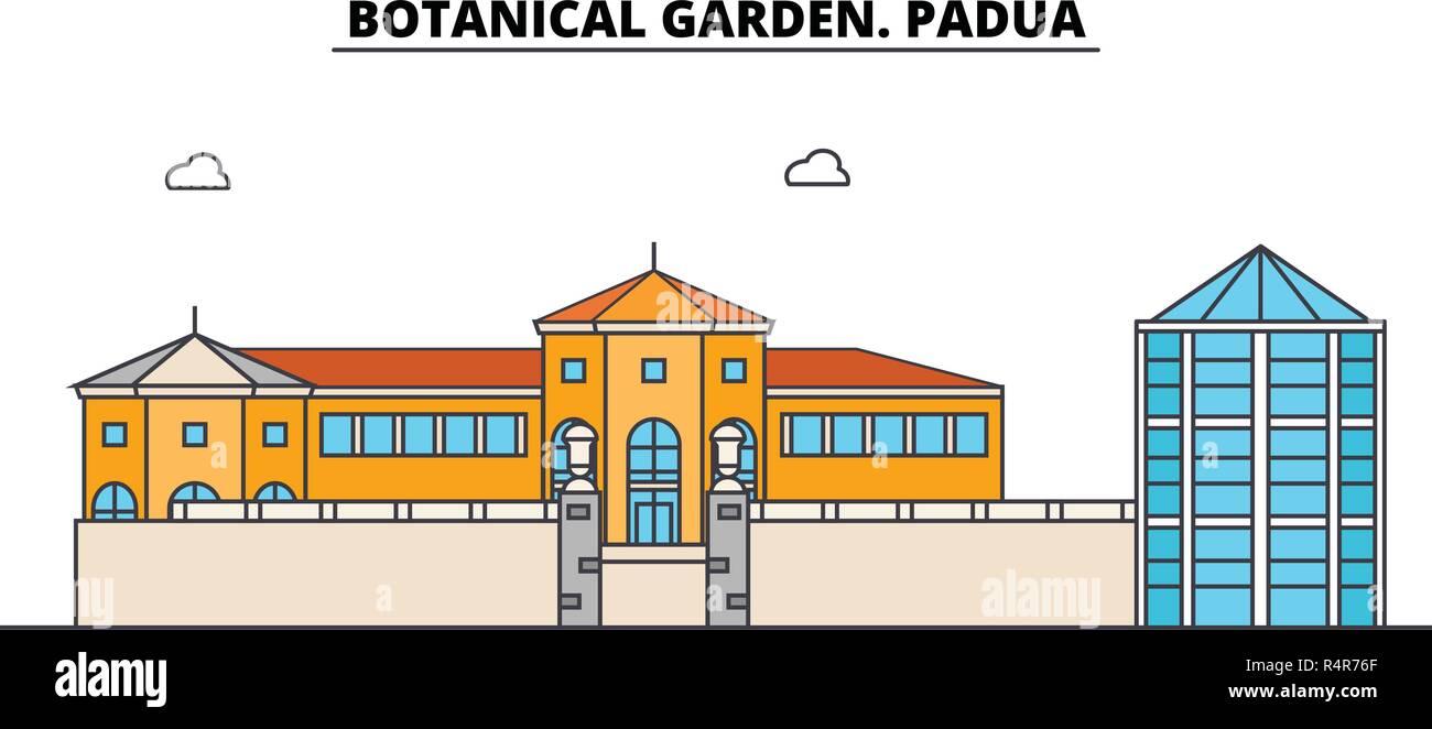 Botanical Garden. Padua line travel landmark, skyline, vector design. Botanical Garden. Padua linear illustration.  - Stock Vector