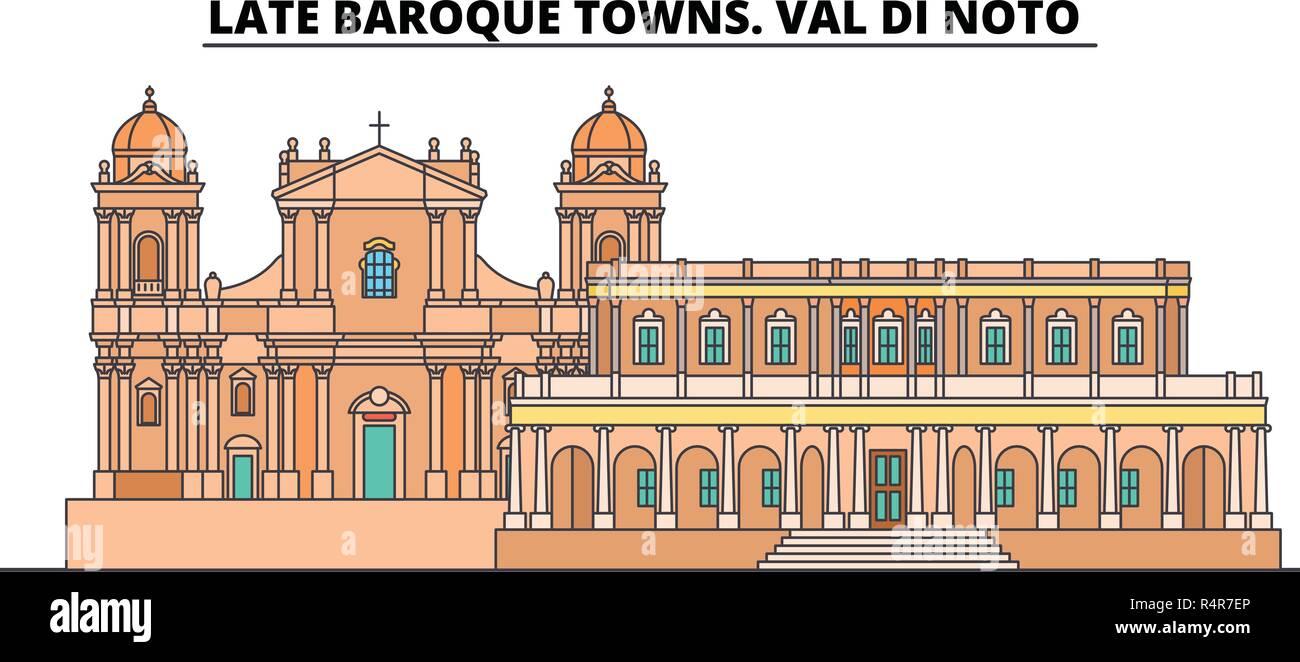 Late Baroque Towns. Val Di Noto  line travel landmark, skyline, vector design. Late Baroque Towns. Val Di Noto  linear illustration.  - Stock Vector