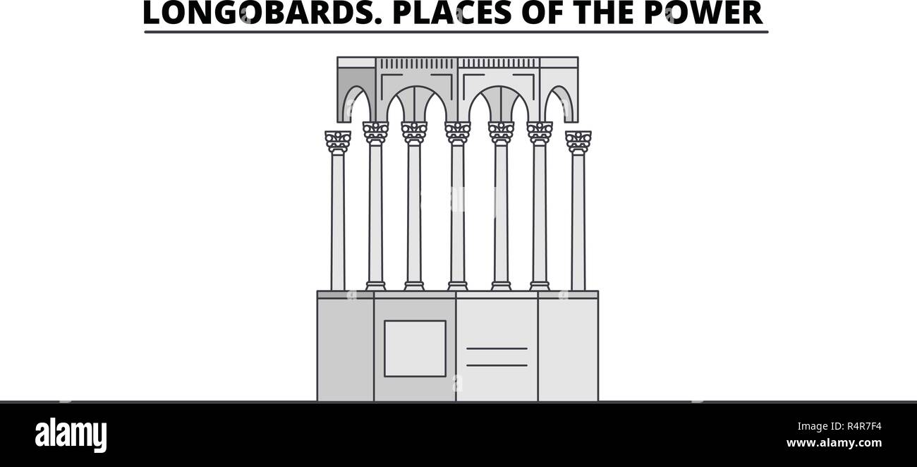 Longobards. Places Of The Power  line travel landmark, skyline, vector design. Longobards. Places Of The Power  linear illustration.  - Stock Vector